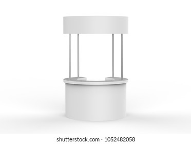 Blank White round Promotion Stand on white background, 3d illustration.