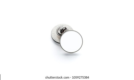 Blank white round silver lapel badge mockup stack, 3d rendering. Empty luxury hard enamel pin mockup. Clasp-pin design template. Expensive metal circular brooch for logo presentation