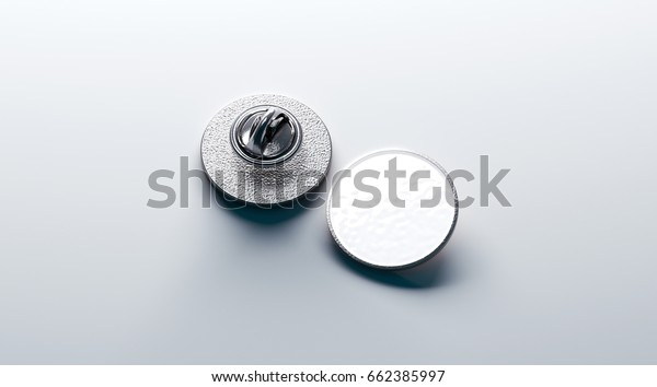 Blank white round silver lapel badge mockup, front and back side view, 3d rendering. Empty hard enamel pin mock up. Metal clasp-pin design template. Expensive curcular brooch for logo presentation