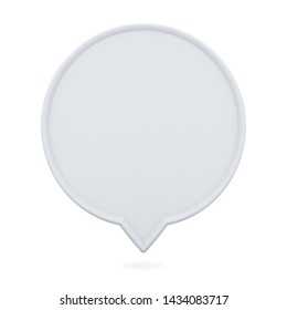 Blank white round speech bubble pin floating isolated on white background with shadow 3D rendering