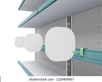 Blank White Round Square Stopper Or Wobbler Attached To Supermarket Shelf. 3D rendering