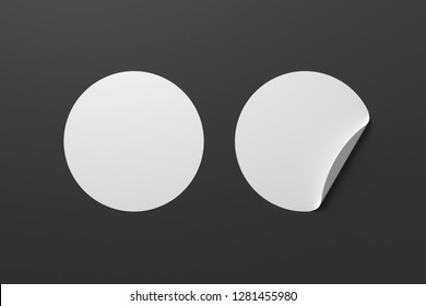 Blank white round stickers straightened and with folded corner on black background. With clipping path around stickers. 3d illustration.