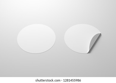 Blank white round stickers straightened and with folded corner on white background. With clipping path around stickers. 3d illustration.