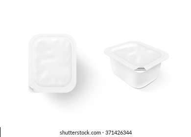 Blank white sauce box mock up stand isolated. Sause clear jar mockup, 2 sides. Sour cream empty box design presentation. Butter packaging. Jam bank template. Pudding box pack. Butter plastic package.