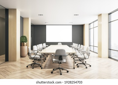 Blank white screen on dark wall in eco style conference room with modern furniture and parquet floor. 3D rendering, mockup