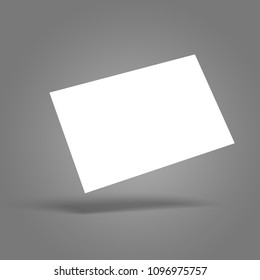 Blank white sheet (card) floating, gradient gray surface and background, isolated