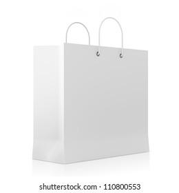 Blank White Shopping Bag isolated on white background