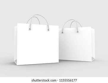 Blank white shopping bags set with nylon rope handle in 3d rendering