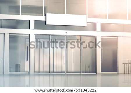 Blank White Signage On Store Glass Stock Illustration 531043222