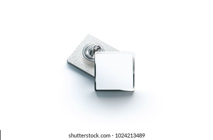 Blank white silver lapel badge mock ups stack, 3d rendering. Empty luxury hard enamel pin mockup. Metallic clasp-pin design template. Expensive square brooch for logo presentation.
