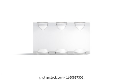 Blank white six beer can cardboard pack mockup, front view, 3d rendering. Empty folding disposable case for fresh lemonade or water mock up, isolated. Clear bavarage jar package mokcup template.