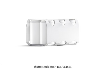 Blank white six beer can cardboard pack mock up, isolated, 3d rendering. Empty paper packing for jar with tea or canned alchohol mockup, half-turned view. Clear six aluminum tin mokcup template.