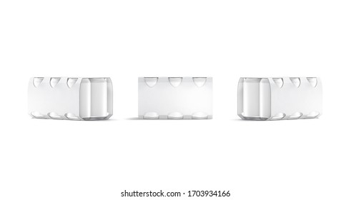 Blank white six beer can cardboard pack mockup, front and side view, 3d rendering. Empty paperboard packing with aluminum tin mock up, isolated. Clear soda or lager canned package for chilled mokcup
