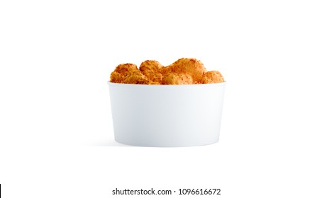 Blank white small food bucket with chicken nugget wings mockup isolated, 3d rendering. Empty short pail fastfood packaging front side view. Paper hen bucketful design mock up.