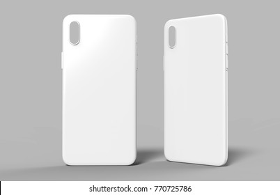 Blank white smart phone mobile back cover or case for design template mock up design. 3d illustration