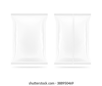 Blank white snack plastic bag mock up package front and back side isolated. Clear white chips pack mockup. Cookie, candy, sugar, cracker, nuts, jujube supermarket foil plastic frozen container packet.