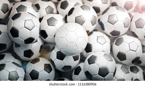 Blank white soccer ball stack mock up, top view, 3d rendering. Empty football heap mockup. Clear fotball pile for playing on the field template