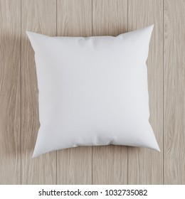 Blank white soft square pillow on a wooden floor, mockup for your design, 3D render