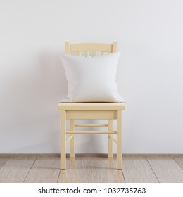 Blank white soft square pillow in the interior, mockup for your design, 3D render