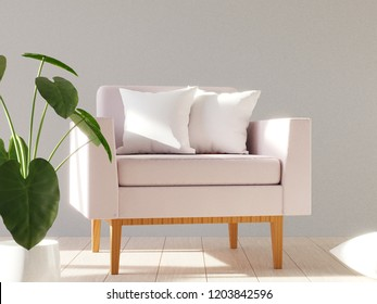 Blank white soft square pillow on a modern armchair. Mockup for your design. 3D render.
