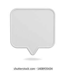 Blank white speech bubble pin isolated on white background with shadow 3D rendering
