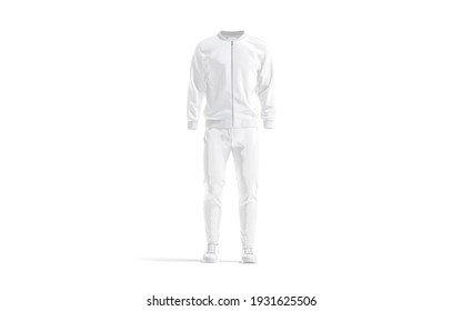 Blank white sport tracksuit with bomber, pants and sneakers mockup, 3d rendering. Empty male jersey fitness costume mock up, isolated, front view. Clear outwear sports suit template.