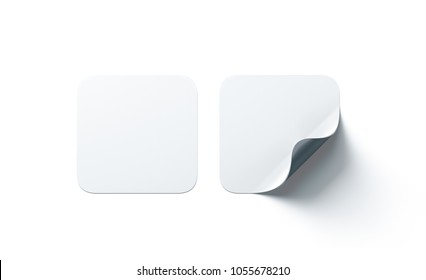 Blank white square adhesive stickers mock up with curved corner. Empty quadratic sticky label mockup with curl. Clear adherent tag template for glass door or wall.