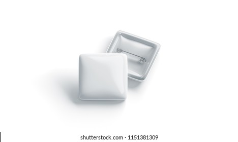 Blank white square badge stack mockup, front and back side, isolated, 3d rendering. Empty clear pin emblem mock up front view. Quadratic plastic volunteer label template.