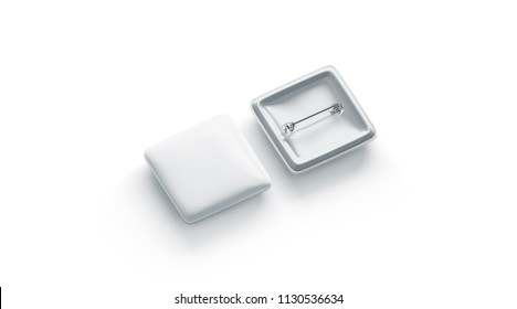 Blank white square button badge mockup, front and back side, isolated, 3d rendering. Empty clear pin emblem mock up top view. Quadratic plastic volunteer label template.