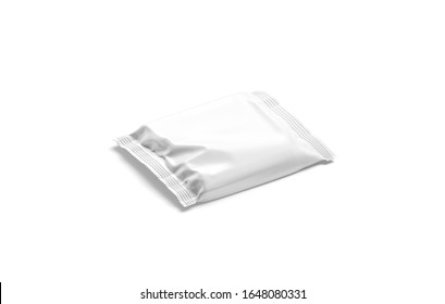 Blank white square chocolate bar foil wrap mock up, isolated, 3d rendering. Empty cookies or biscuit wrapped mockup, side view. Clear airtight case for chocolat snack mokcup template.