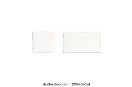 Blank white square and rectangular postage stamp mockups, isolated, depth of field, 3d rendering. Empty poststamp mockup, top view. Clear toothed label for mail template.