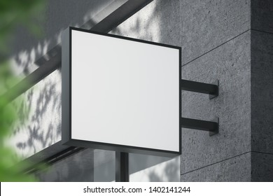Blank white square shop signboard. Luminous lightbox on the wall. Mock up. 3d rendering