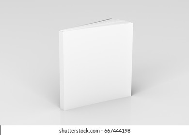 Blank white square soft cover book standing on white background. Isolated with clipping path around book. 3d illustration