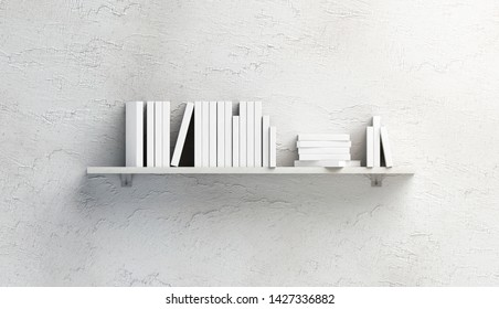 Blank white stack of books mock ups on shelf mounted on wall, front view, isolated, 3d rendering. Empty bookcase mockup fixed to textured wal. Clear library ledge with bunch of literature.