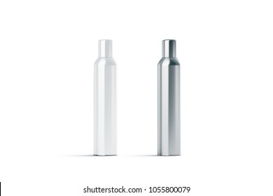Blank white and steel closed hairspray bottle mockup, 3d rendering. Empty deodorant mock up isolated. Clear stainless container template