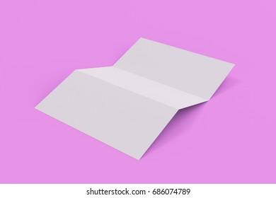 Blank white three fold brochure mockup on violet background. Leaflet or booklet template. 3D rendering illustration