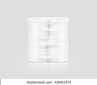 Blank white toilet paper roll packaging mockup, isolated, clipping path, 3d illustration. Napkin clear package design mock up stand. Wc lavatory toilette paper rolls packing transparent wrap template.
