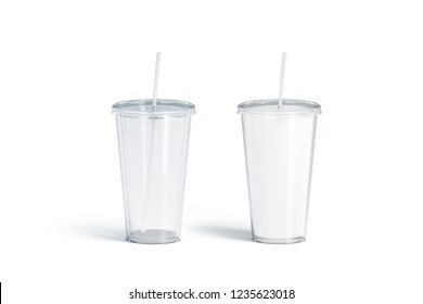 Blank white and transparent acrylic tumbler with straw mockup set, 3d rendering. Empty translucent and matt flask mock up, isolated. Plexiglass beverage mug with pipe template.