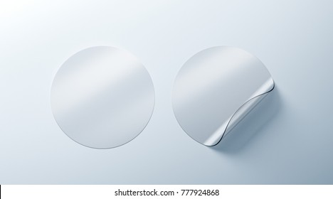 Blank white transparent round adhesive stickers mockup with curved corner, 3d rendering. Empty translucent circle sticky label mock up with curl. Clear adherent tag template for glass.