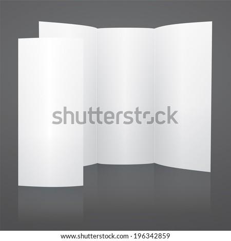 Blank White Tri Fold Brochure Template Stock Illustration 196342859