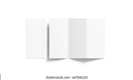 Blank white tri folded booklet mockup, opened and closed, top view, 3d rendering. Plain trifold brochures mock ups set isolated. Book cover and three flier inside, copy space.