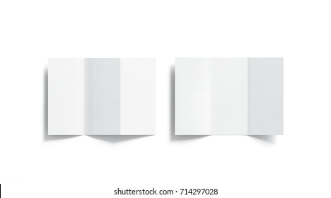 Blank white tri folded booklets mockups set, opened top view, 3d rendering. Plain trifold brochures mock ups set isolated. Book cover and three flier inside, copy space.