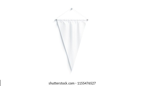 Blank white triangular pennant mock up, isolated, 3d rendering. Clear penant hanging on wall mockup, front view. Empty flag template
