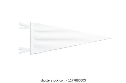 Blank white triangular pennant mock up, isolated, 3d rendering. Clear classic penant mockup, top view. Empty flag pendant template
