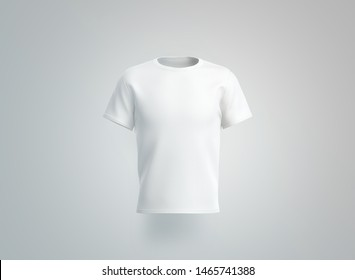 Blank white t-shirt mockup. isolated, front view, 3d rendering. Empty cotton tshirt with sleeve mock up. Clear unisex tee-shirt mokc for uniform. Classic clothe mokcup model for print template.
