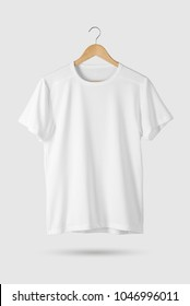 Blank White T-Shirt Mock-up on wooden hanger, front side view. 3D Rendering.
