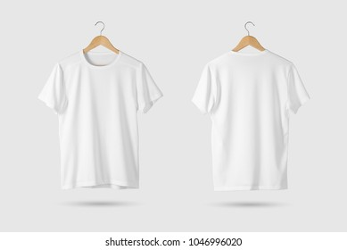 Blank White T-Shirt Mock-up on wooden hanger, front and rear side view. 3D Rendering.
