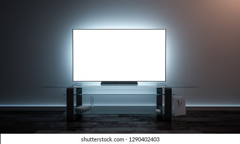 Blank white tv screen interior in darkness mockup, front view, 3d rendering. Empty telly plasma mokcup display in living room mock up. Clear smart panel monitor mokc on glass shelf template.