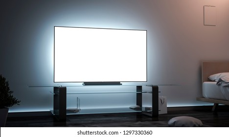 Blank white tv screen room interior in darkness mockup, 3d rendering. Empty lcd widescreen mock up, side view. Clear smart monitor in flat for watch cinema or video template.