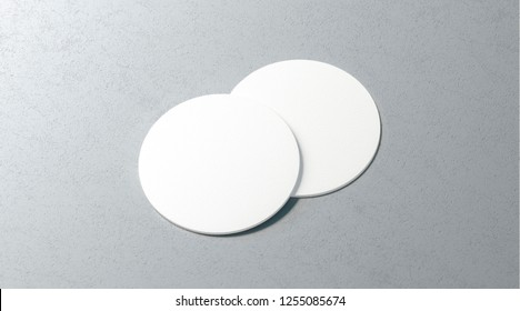 Blank white two beer coasters mockup set on surface, 3d rendering. Empty cork table-mat mock up, top view. Clear label plate for bottle protect template.